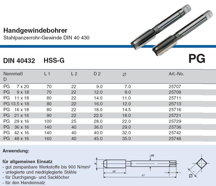 V lkel handgewindebohrer pg 7 48 din 40432 hss g je als for Tabelle gewinde