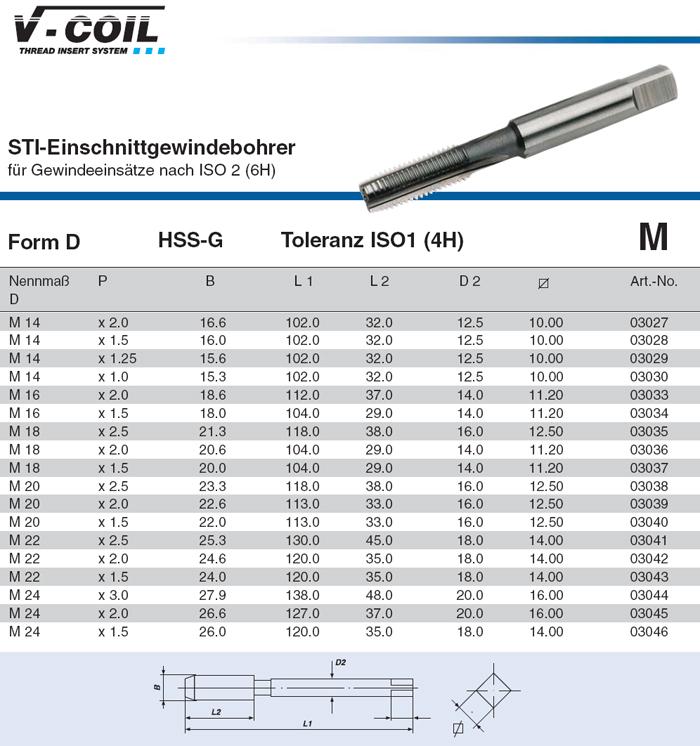 VÖLKEL STI Einschnitt Gewindebohrer Form D M14-24 für Gewindeeinsätze ISO 2